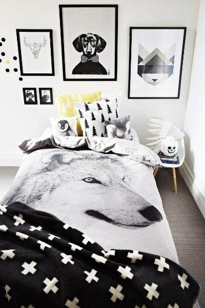 zwart wit slaapkamer met dekbed wolf