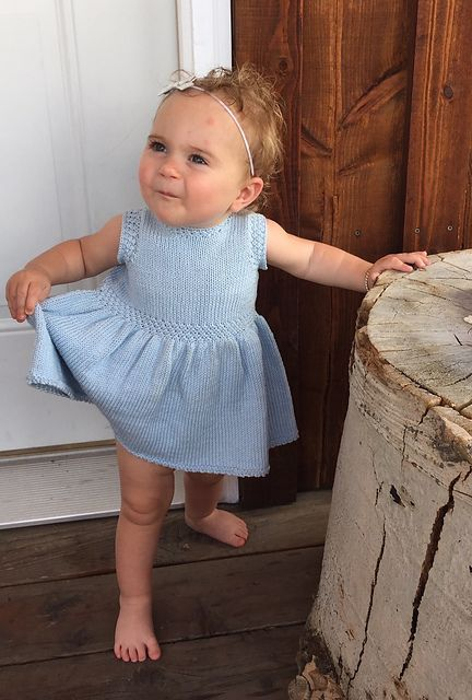 Free knitting pattern for Swan Valley Toddler Dress and more children's dress knitting patterns