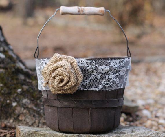 Burlap Flower Girl Basket Hobby Lobby : Flower girl basket rustic shabby chic lace burlap rose