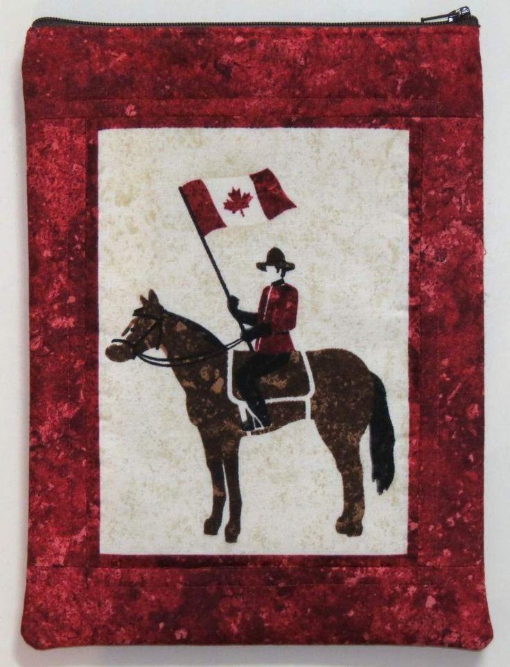 Zippered iPad Sleeve, Electronic Gadget Case, Canadian Mounted Police on horse by MiniMade on Etsy