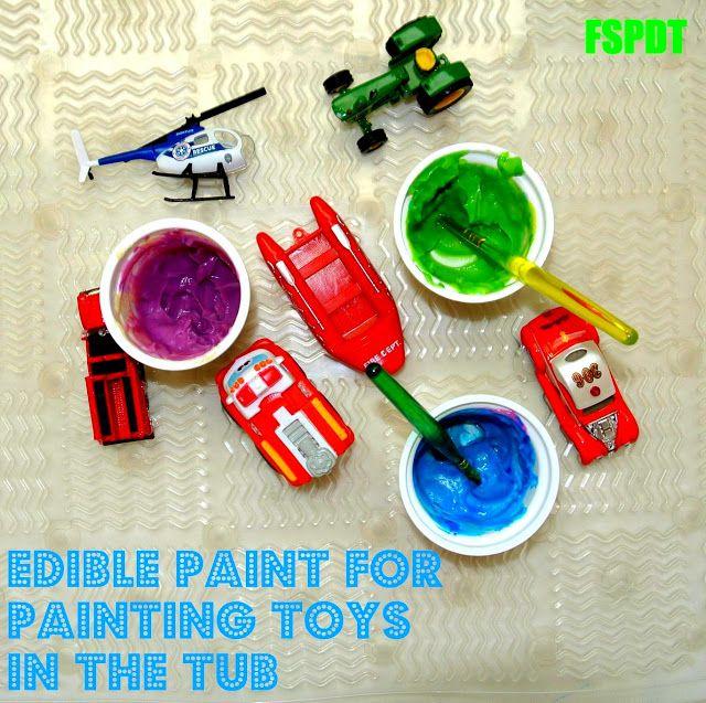"Pudding ""paint"" in the bath tub: Fun Sensory Paint Activity  mix food color/koolaid into yogurt, pudding"
