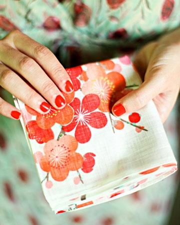 Gifts for moms? The Japanese handkerchiefs were found at Kiteya Soho in New York City. Or use any nice cloth handkerchiefs.