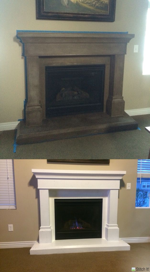 Stone fireplace mantel and Gold fireplace screen