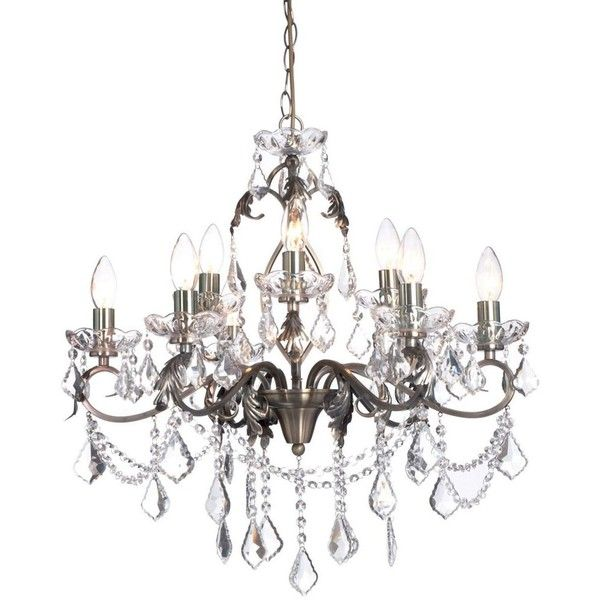 antique brass romeo 9 light crystal chandelier 290 liked on polyvore featuring home