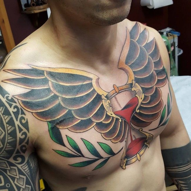 Tattoo Clock Wing Chest: 50 Best Images About Hourglass Tattoos For Men On