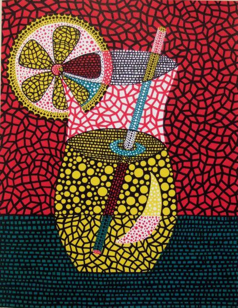 ♥cavetocanvas: Yayoi Kusama, Lemonade, 2000. Although the artist hasn't used the same size and shape dots it still shows a side of her styled work