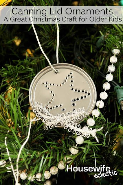 Housewife Eclectic: Canning Lid Ornaments (A Great Christmas Craft for Older Kids)