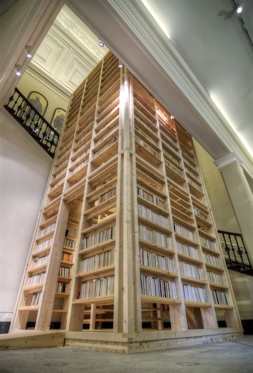 "A tower of books designed by Rintala Eggertsson Architects, exhibited at the Victoria & Albert Musuem in London in an exhibition entitled ""Architects Build Small Spaces."""
