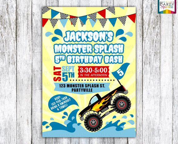 Monster Splash Birthday Bash Invite - Monster Truck Pool Party - Printable Personalized Digital Invitation 4x6 or 5x7 jpg or pdf ★★★★★★★★★★★★★★★★★★★★★★★★★★ This listing is for the High Resolution PRINTABLE Birthday JPEG File. Why settle for ordinary write in the blanks Invitations when you can have extraordinary without exceeding your budget. YOU WILL RECEIVE: Items with Personalization -Invitation (available as 4x6, 5x7 or custom sizes) I offer both jpg and pdf formats to simplify your p...