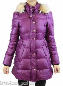 Juicy Couture Purple Faux Fur Puffer Hoodie Coat Winter Jacket Xs