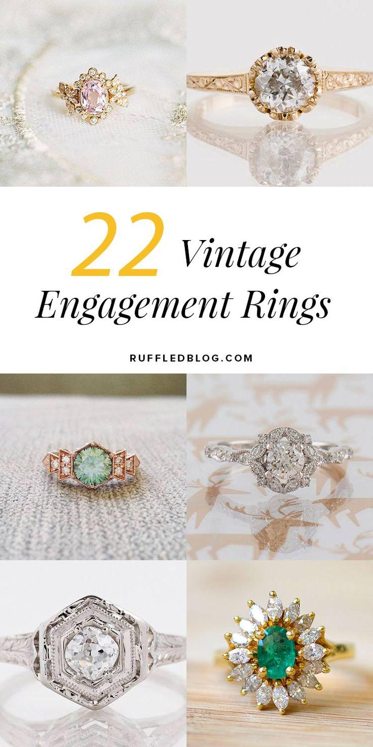 22 Vintage Engagement Rings to Make your Heart Melt #weddingrings #engagementrings #vintagerings  https://ruffledblog.com/romantic-vintage-engagement-rings/
