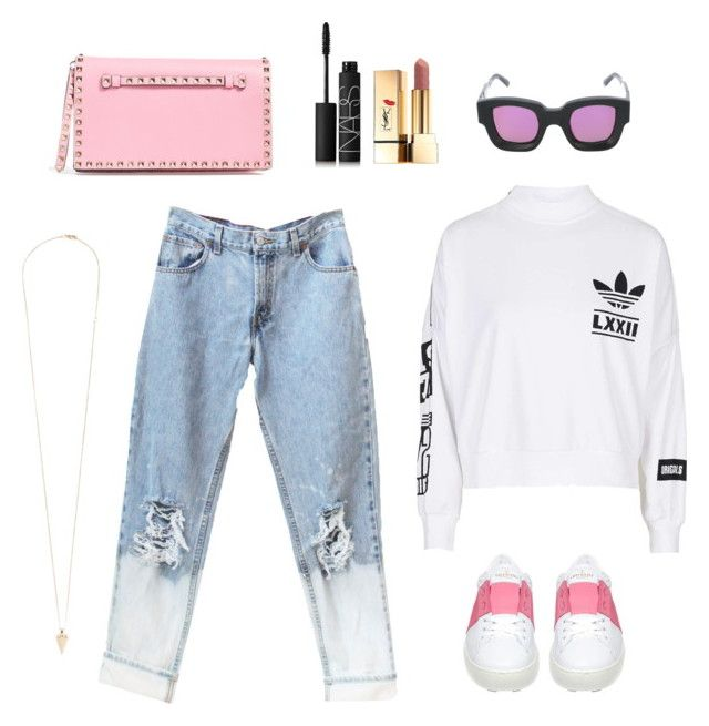 """Pink x Adidas"" by s2pring on Polyvore featuring adidas, Vita Fede, Gentle Monster, Valentino, Yves Saint Laurent and NARS Cosmetics"