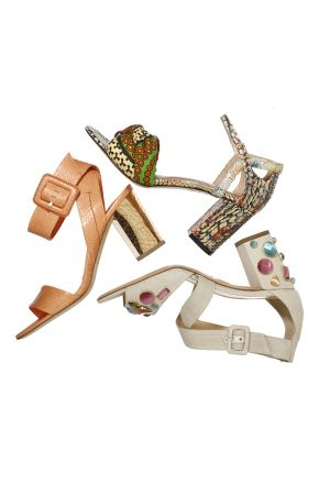 Resort 2016 Accessories Trend: Chunky-Heeled Sandals. Clockwise from left: BRIAN ATWOOD'S water snakeskin sandal; JEAN-MICHEL CAZABAT'S cotton wax fabric sandal, and CHARLOTTE OLYMPIA'S linen sandal with hand-poured glass jewel embellishment. Made in Italy.