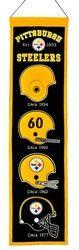 """Pittsburgh Steelers Wool Heritage Banner - 8""""x32"""""""