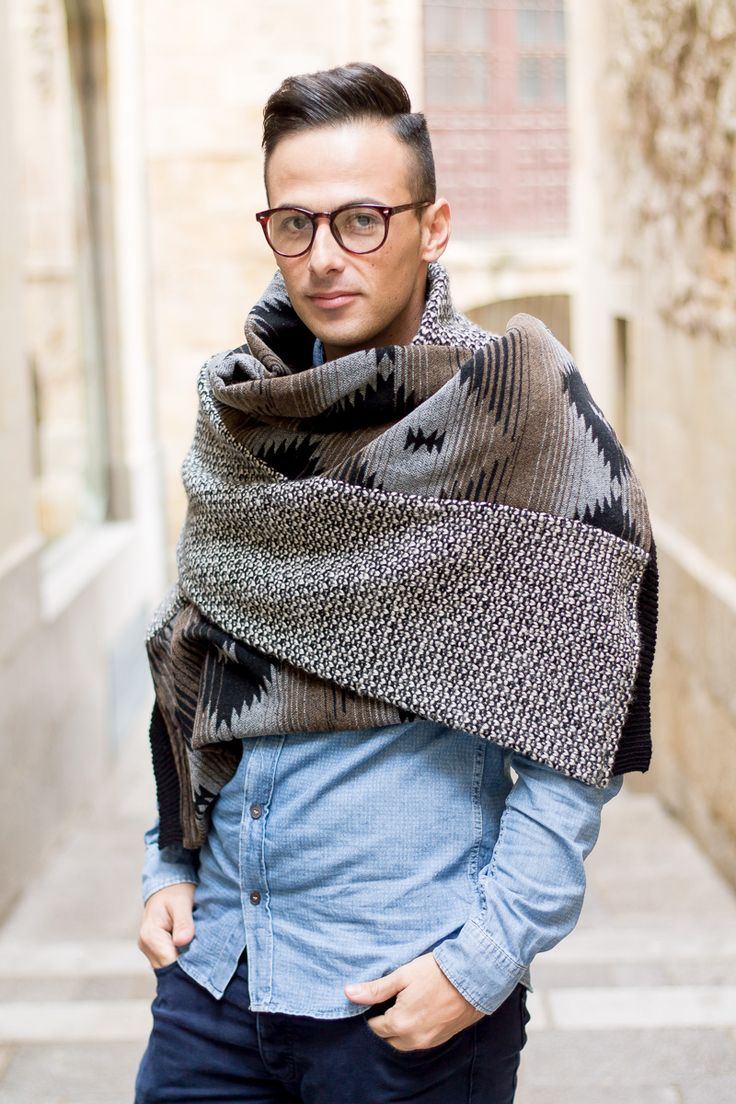 Mens Blanket Scarf Jeffrey Herrero Moda hombre