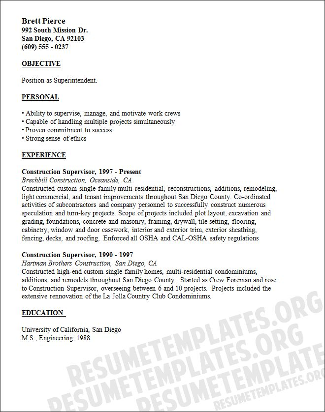 14 best Resumes images on Pinterest Resume examples, Resume help - construction superintendent resume