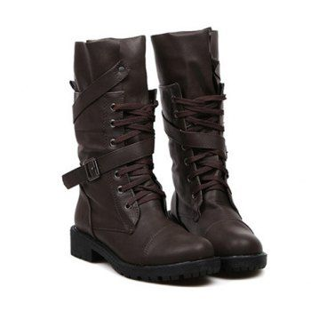 Stylish Buckle and Lace-Up Design Mid-Calf Boots For Women, BROWN, 39 in Boots | DressLily.com