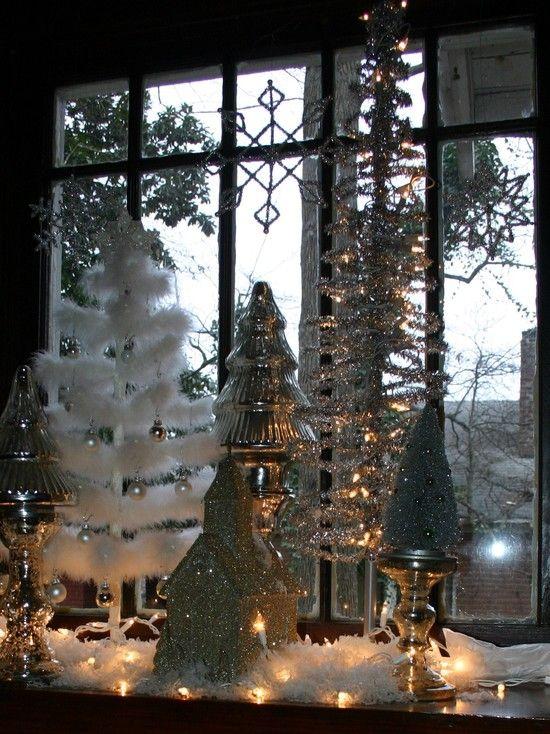 Christmas window vignette, LOVE the little Putz church & white feather tree!