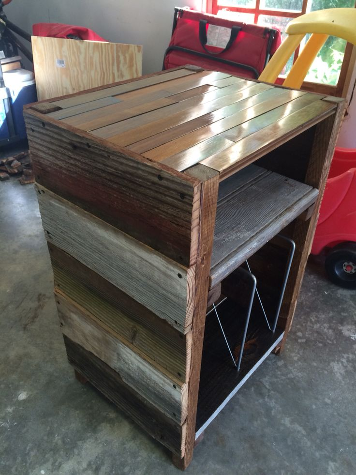 Barnwood Record Player Stand And Vinyl Storage My