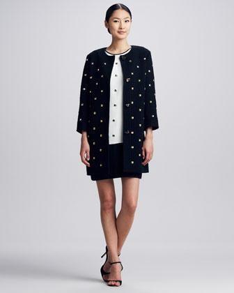 kate spade new york spencer studded long coat & rosita studded colorblock dress - Neiman Marcus