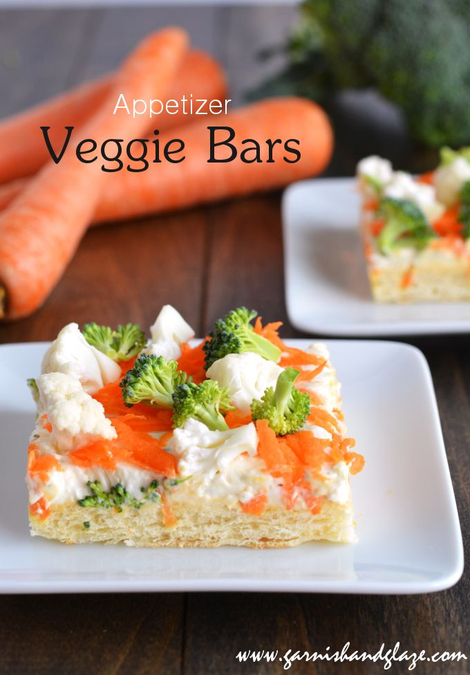 Simple appetizer Veggie Bars that are great for parties