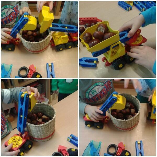 Gebruik herfstmaterialen op de groep als speelgoed, zoals bijv. kastanjes als bouwmateriaal.