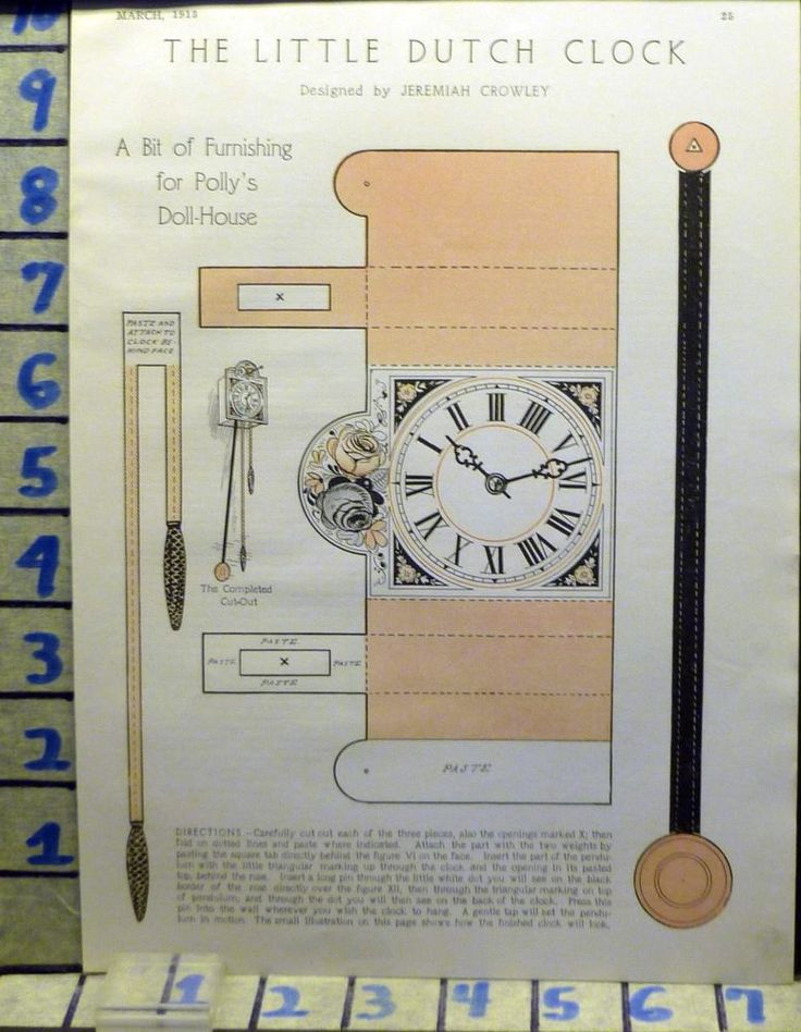 1913 DUTCH CLOCK POLLY DOLL HOUSE MANTLE PAPER CUTOUT VINTAGE ART AD  AN42