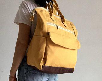 Mochila ~ 100% hecho a mano, bolso de cámara, cera de abejas, pañalera en mostaza, mochila, mochila, regalo para ella, bolso, bandolera, bolsa, mujer