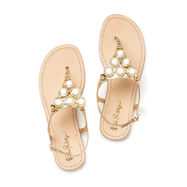 Beach Club Sandal ($188) ❤ liked on Polyvore featuring shoes, sandals, flats, chaussures, flat sandals, jeweled flat sandals, leather strap sandals, dressy flat shoes and flat shoes