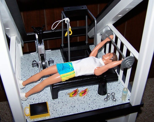 OOAK Barbie Dream House Ken Home Workout Gym Furniture Weight Bench  Treadmill | EBay   So
