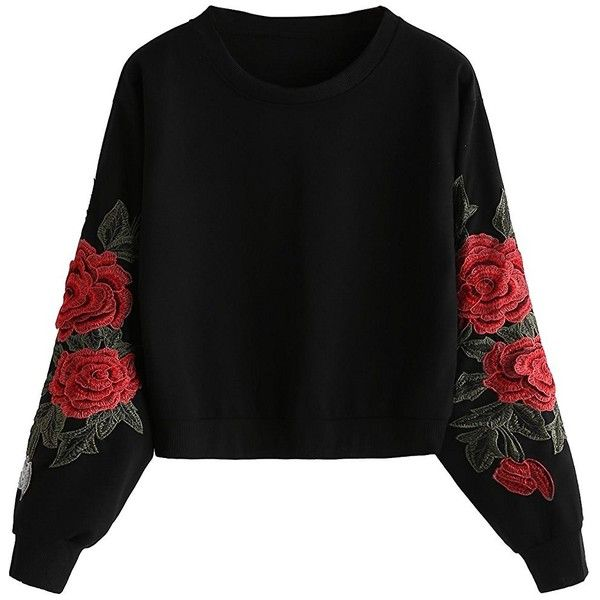 ROMWE Women's Casual 3D Embroidered Crew Neck Pullover Sweatshirt ($17) ❤ liked on Polyvore featuring tops, hoodies, sweatshirts, hoodies pullover, embroidered sweatshirts, crew neck pullover sweatshirt, hoodie sweatshirts and hoodie pullover