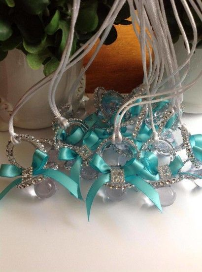 """Tiffany themed baby shower pacifier necklace by Maria's Craft -  Don't Say """"WORD"""" Baby Shower Game"""