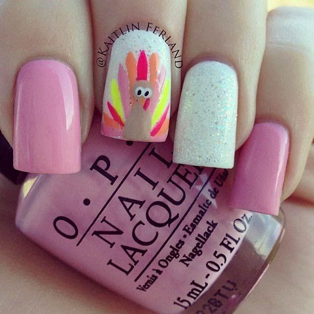 Cute Pink Thanksgiving Nails