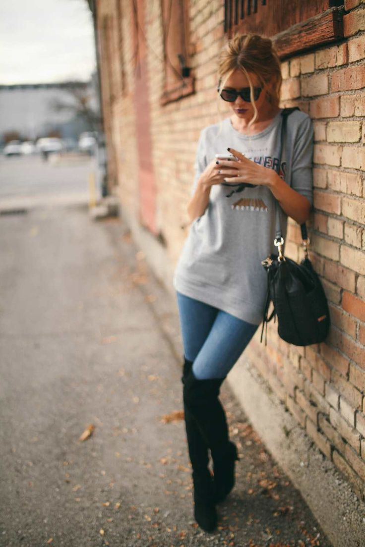 oversize grey sweater + denim + over-the-knee boots...pinned by ♥ wootandhammy.com, thoughtful jewelry.