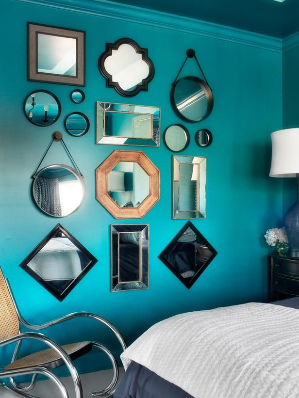 Wall of Mirrors in Traditional Master Bedroom With Masculine and Feminine Style  from HGTV