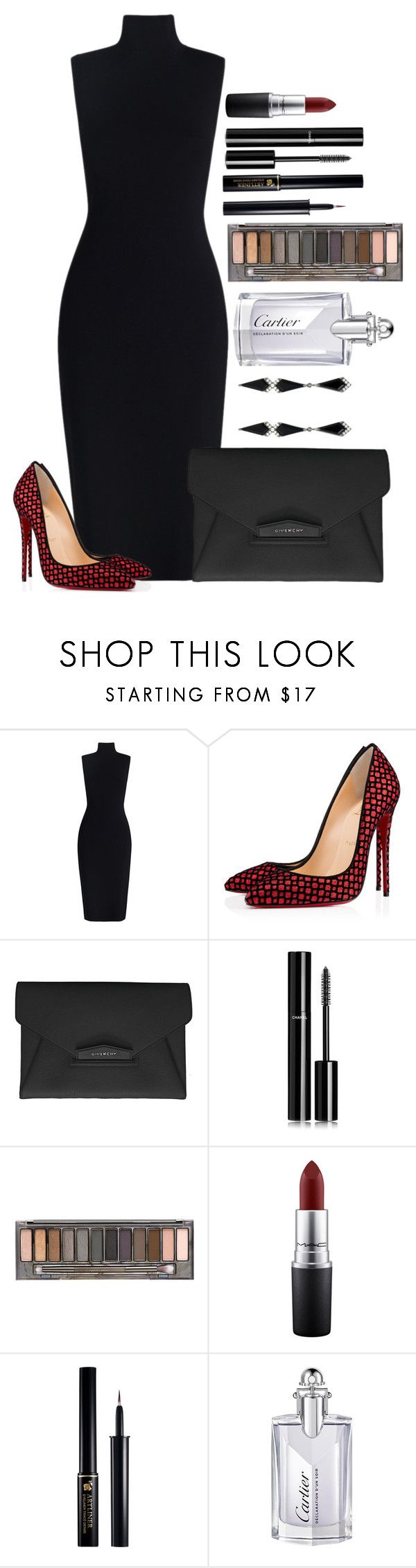 Untitled #1428 by fabianarveloc on Polyvore featuring Christian Louboutin, Givenchy, Chanel, Urban Decay, MAC Cosmetics, Lancôme, Cartier and Eva Fehren