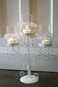 cream 3 arm pearl and crystal candle holder wedding candelabra centrepiece table