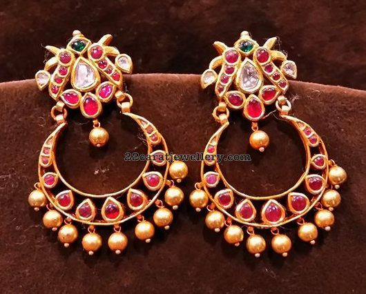 Kundan Jhumkas Simple Chandbalis - Jewellery Designs