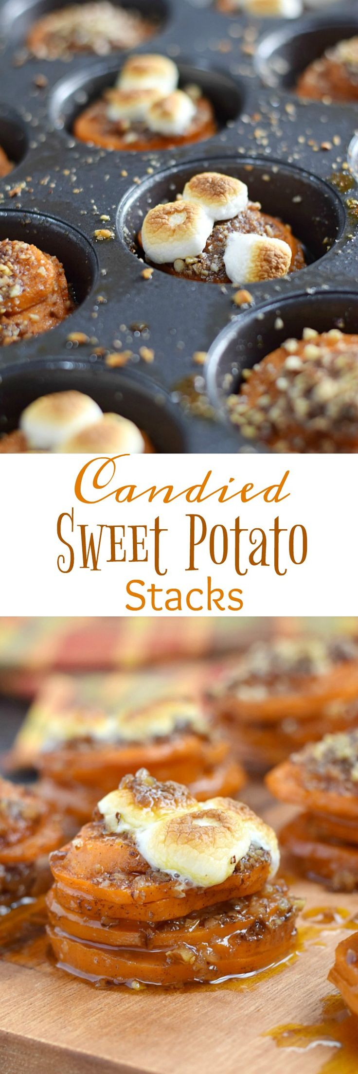 These Candied Sweet Potato Stacks are a fun twist on everyone's favorite holiday side dish | cookingwithcurls.com