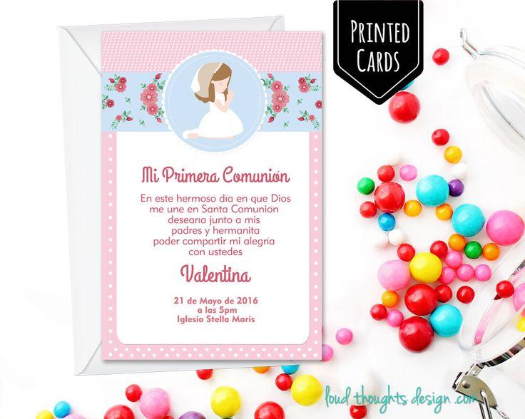 First Communion Invitations/ Holy Communion Invite/ Baptism Invitation/ Girls Communion by LoudThoughtsDesign on Etsy https://www.etsy.com/au/listing/456075162/first-communion-invitations-holy