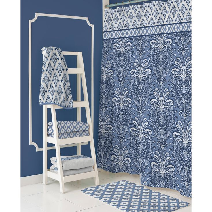 Dena Home Madison Navy Shower Curtain   Overstock.com Shopping - The Best Deals on Shower Curtains