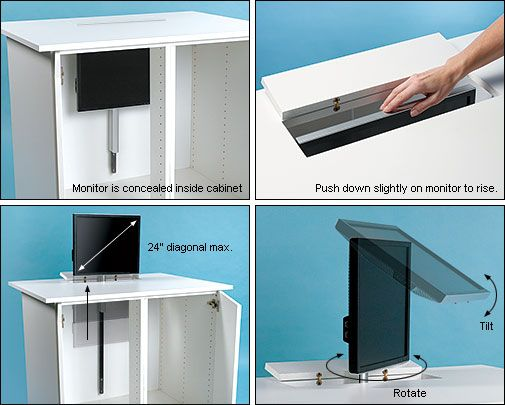 Pneumatic Monitor Lift Great Way To Have More Desk E When Not Being Used Plus It Will Help Office Look Cleaner Le