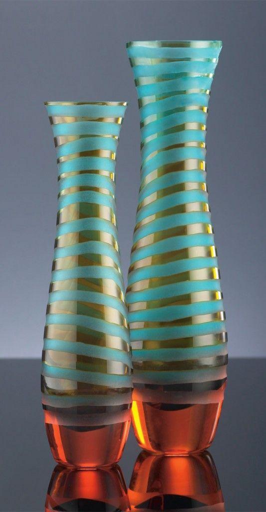 Glass Vases: Gorgeous Glasses, Glasses Vase, Chisel Vase, Stripes Vase, Design Interiors, Interiors Design, Glasses Art, Glasses Offices Design, Art Glasses