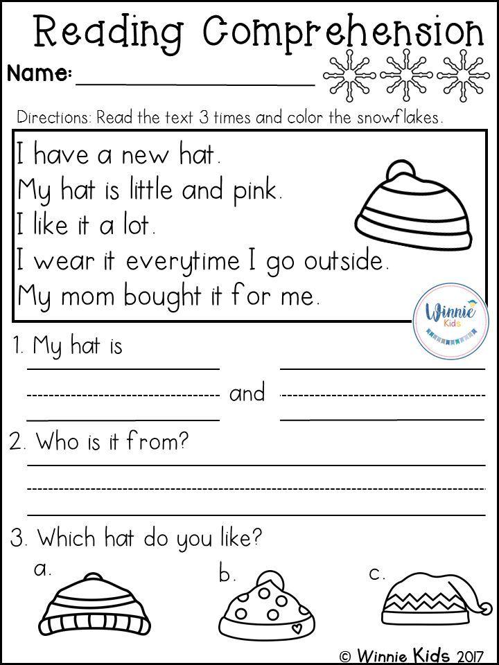 Kindergarten Reading Comprehension Passages Winter Reading Comprehension Kindergarten Reading Comprehension Passages Kindergarten Reading Reading response worksheets kindergarten