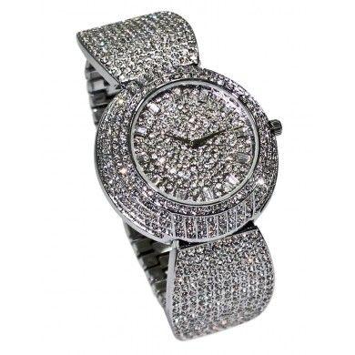Moon Charming Crystal Silver Lady Women Bracelet Quartz Dress Gift #WristWatch [GO-10012B]