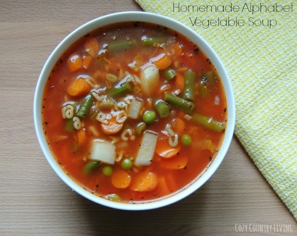 Homemade Alphabet Vegetable Soup