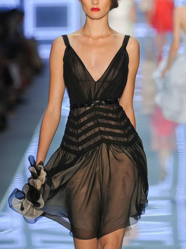Sheer chevron dress / Dior spring 2012: Dior Spring, Fashion, Style, Christiandior, Christian Dior, Dresses, Spring 2012, Black Dress