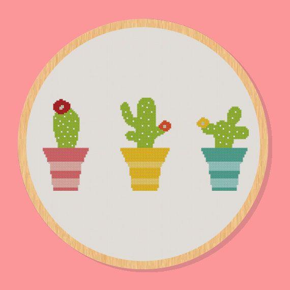 Cross Stitch Pattern Cactus Flower Pot PDF digital file by ttokki
