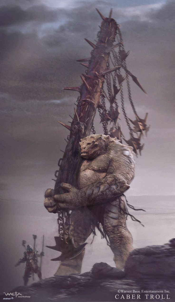 abaker: Battle of 5 Armies concept art. Giant orc or troll working