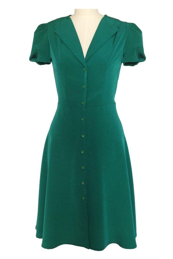 500 Kleider Im Vintage Stil Zum Verkauf 1940er Jahre Teekleid Grun